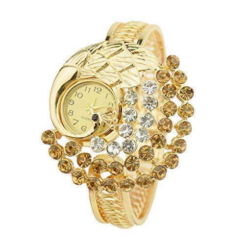 Lazzgirl Frauen-runde volle Diamant-Armband-Uhr-analoge Quarz-Bewegungs-Armbanduhr(Brown,One Size) - Damen Ebel Uhren Diamanten