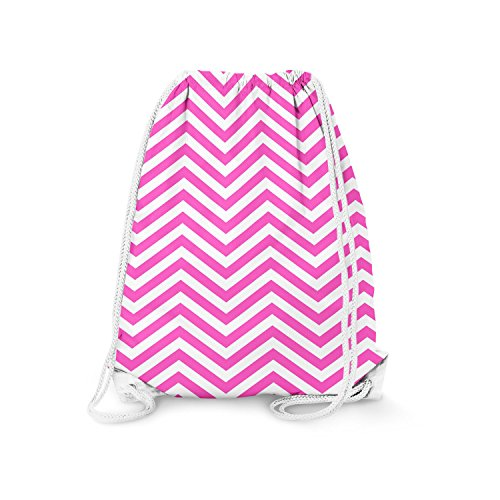Chevron Stripes Hot Pink - Large (13.3 x 17.3) - Drawstring Bag Turnbeutel Gymtasche Gymsac