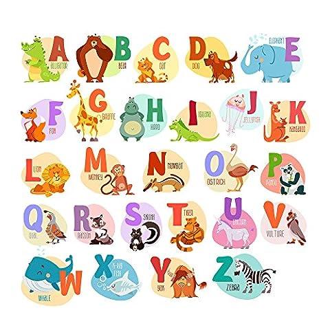 Lettres de l'alphabet animaux ABC Stickers muraux facilement amovible Peel et Stick pour Daycare école Décoration chambre enfants Stickers pour bébé garçons filles–Top Qualité–Chambre d'enfant éducatif Décoration murale