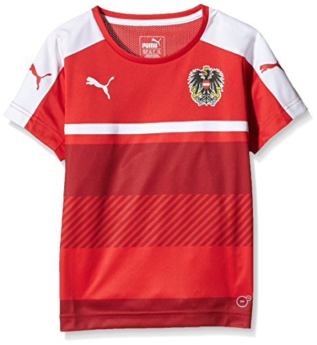 PUMA Kinder T-Shirt Austria Training Jersey, Red-White, 140, 748689 11 (Jersey Fußball Training Puma)