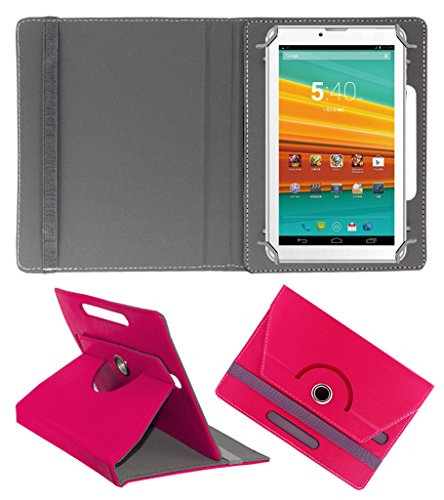 ACM ROTATING 360° LEATHER FLIP CASE FOR KARBONN ST-72 TABLET STAND COVER HOLDER DARK PINK  available at amazon for Rs.149