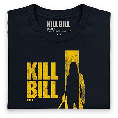 Official Kill Bill Vol 1 Distressed Yellow Logo T-Shirt, Herren Schwarz