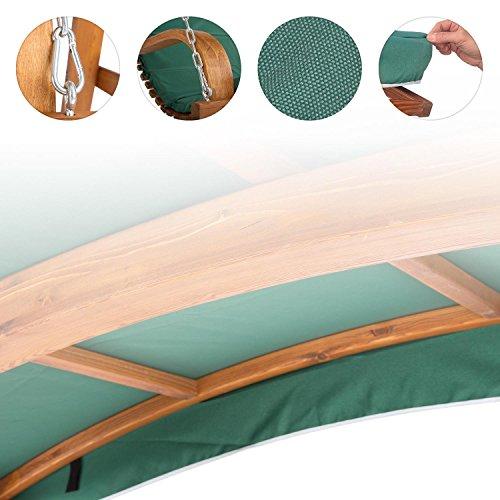 Blumfeldt Tahiti Hollywoodschaukel Gartenschaukel (110 cm breite Sitzfläche, Sonnendach, Lärchen-Holz, Edelstahl-Ketten, bis max. 250 kg, inkl. Polyester Sitz-Kissen) grün - 3