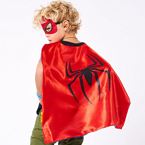 LAEGENDARY Disfraces de Superhéroes para Niños   Regalos de cumpleaños para niños   4 Capas y Máscaras   Logo Brillante de Spiderman   Juguetes para Niños y Niñas