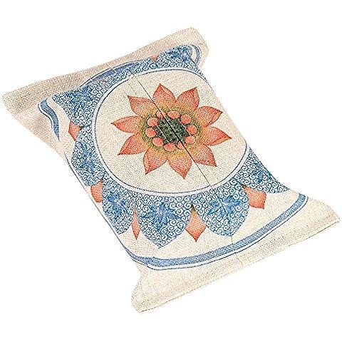 Mr Fantasy nuevo creativo portátil lino y algodón Facial Caja de pañuelos, diseño de bolsa de papel titular dispensador servilletas en japonés chino impresión Lotus montaña decoración de la