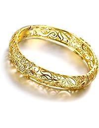 18K plaqué or jaune fleur en filigrane Bracelet Bracelets Bijoux tendance