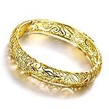 Leadyoung 18K Yellow Gold Plated Flower Filigree Bangle Bracelets Fashion Jewellery