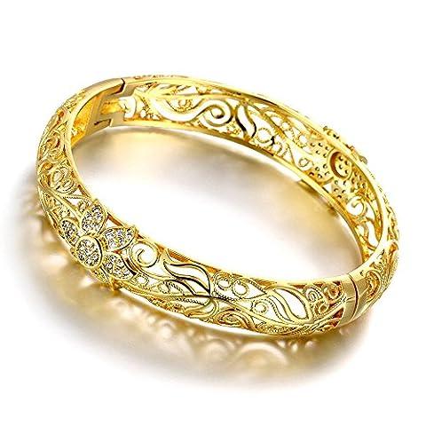 18K Yellow Gold Plated Flower Filigree Bangle Bracelets Fashion Jewelry