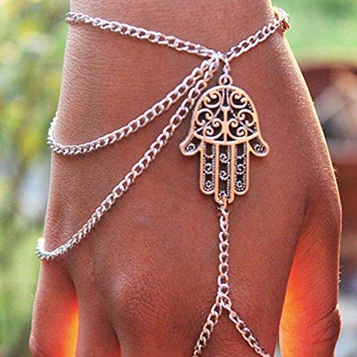 Preisvergleich Produktbild Modisches Schmuck Schichten Quasten Silber Armband Palm Finger-Ring Handhandgelenk-Kette