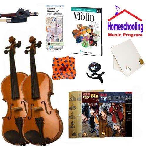 homeschool Music–Weitere die Violine Eltern und Kind Pack (Bluegrass)–Buch Paket Student 3/4Violine & Full Size 4/4Violine w/Fall, DVD, Bücher & All Inclusive Learning Essentials