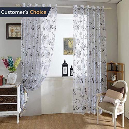 Urijk Transparent Gardine Vorhang aus Voile Fenster Dekoration Stickerei Schlafenschal Dekoschal für Wohnzimmer Schlafzimmer Studierzimmer (1 Stück) (Blumen Muster, 100x250cm)