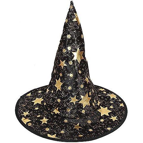 Ularma Sombrero de bruja de monocapa adultos para el accesorio del traje de Halloween (negro)