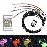 Idealeben Etanche 12-24V Voiture Plancher Bande RGB LED Eclairage Flexible Lampe pour BMW BENZ AUDI Toyota Eclairage Ambiant avec Télécommande Noir