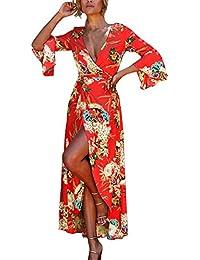 Estate Vestito a Tunica Donna Moda Stampa Bende Spiaggia Abito con Spaccato  Sexy Collo V Profondo Maniche a Campana Maxi Vestiti da… 2581f7616f0