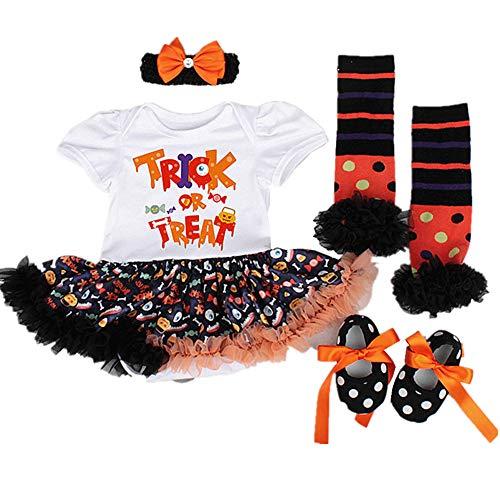Sallyshiny Baby Mädchen My First Halloween Kürbis Outfits Tutu Rock Prinzessin Strampler Kleid Gr. 6-12 Monate, White Trick Or - Best Trick Or Treat Kostüm