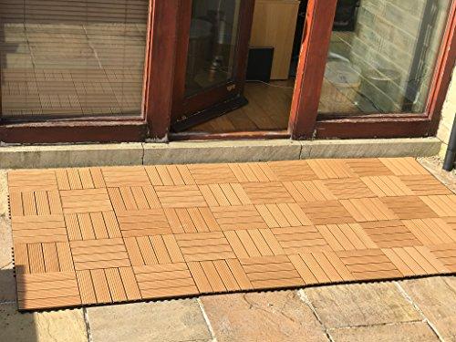 36piastrelle a incastro per pavimenti, in legno composito–teak a scatto per patio, giardino, balcone, vasca idromassaggio, con pannelli quadrati da 30 cm - 2