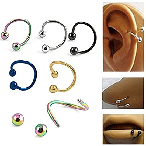 Zhichengbosi 10pcs multifonctions en acier inoxydable S Twist Nez lèvres Bague Boucles d'oreilles Piecring Bijoux