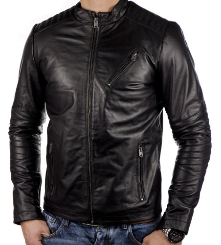 Jack & Jones Herren Rio Leather Jacket Jacke, Mantel oder Parka Lederjacke, black, Gr. XXL