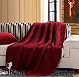 BIANJESUS Strickdecke handgemachte rote Acryl Büro Couch weiche warme Klimaanlage 127 * 153cm Home Doppelbett Luxus Sofa groß