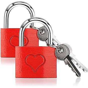 Geschenkidee Paarschloss 2 Gr/ö/ßen Silber Vorh/ängeschloss Herz-Aufdruck ohne Gravur Relaxdays Liebesschloss 2er Set