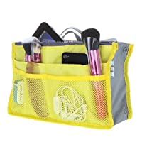 Orpio Women Multipocket Handbag Organizer, Travel Makeup Cosmetic Organizer Handbag (Yellow)