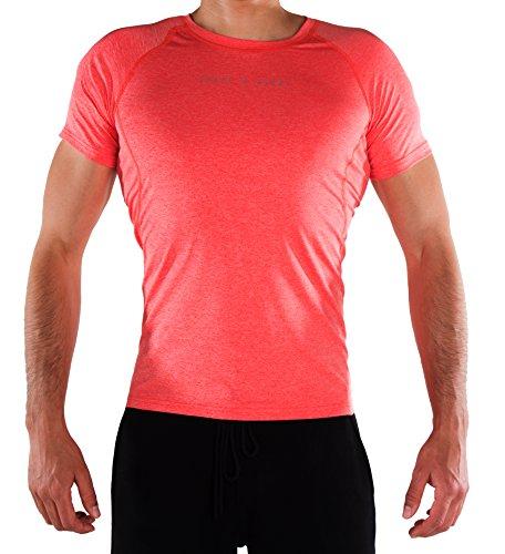 SHAPE & GLORY | Performance Shirt | Fitness Shirt | Gym Shirt | Muscle Fit | 4-Wege-Stretch-System | Schweißabsorbierend (Watermelon red, M)