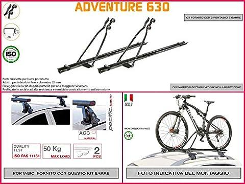 Porte-vélo de toit Ford Focus de 2004à 20115portes en acier en kit de 2pièces y compris barres de toit de toit
