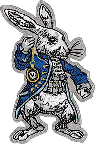 White Rabbit Embroidered Patch 9cm x 5.5cm