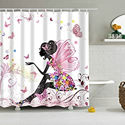 Magideal Bathroom Shower Curtain Sheer Waterproof Panel w/ Hooks Butterfly Girl