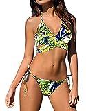 Minetom Badeanzug Badekleid Sommer Damen Bikini Zweiteilig Bademantel Bademode Swimsuit Swimwear Hawaiianischen Neckholder Halter Gedruckt Gelb DE 44