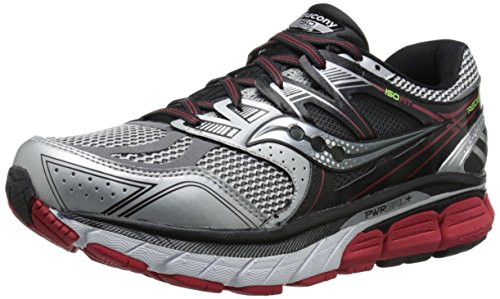 Saucony Men's Redeemer ISO Running Shoe, Silver/Black/Red,10 M US Silver / Black