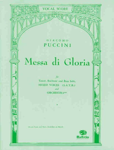 By Giacomo Puccini Messa Di Gloria Vocal Score (Belwin Edition)