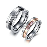 2PCS Stainless Steel Cubic Zirconia Wedding Engagement Ring Set for Couples Women Size N 1/2 & Men Size V 1/2