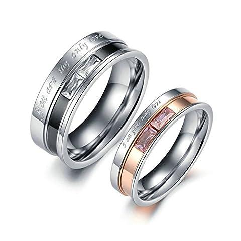 Epinki Bijoux Alliance 2Pcs Acier Inoxydable Anneaux pour Couples Gravé