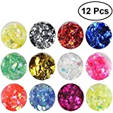 Frcolor Nail Art Glitter, Ice Mylar Shell Foil Slice Paper Nail Art Design, 12 Colors (Ramdon Color)