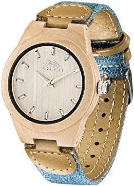 AMEXI Relojes unisex analógico madera con tela y correa de cuero
