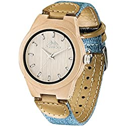 AMEXI Unisex Wooden Watches with Fabric Strap Analogue Watches for Women and Mens