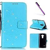 EMAXELERS LG G4 Stylus Hülle Bling Glitzer Diamant Schmetterling PU Leder Handy SchutzHülle für LG G Stylo,mit Standfunktion für LG G4 Stylus LS770,Sky Blue Butterfly with Diamond