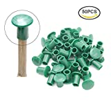 50pcs Green Round Rubber Bamboo Cane Caps Garden Cane Topper Protectors
