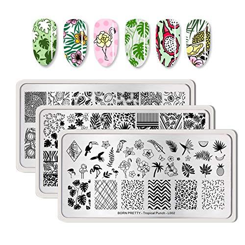 BORN PRETTY Rechteck Nagel Stamping Platte Obst Muster Nagel Stempel Bild Platte Tropical Punch 3 Stück Bündel