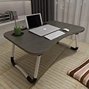 Laptop Bed Table, Aitmexcn Foldable Portable Lap Standing Desk with Cup Slot, Notebook Stand Breakfast Bed Tra