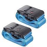Gepäck Strap LeHom Koffergurt 2er Pack robust Gepäckgurte Zahlenschloss Kofferband Spanngurt TSA-zertifizierter Kreuz-Koffergurt