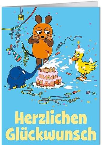 Grußkarte 11,5x16 cm +++ SENDUNG MIT DER MAUS von modern times +++ HERZLICHEN GLÜCKWUNSCH TORTENSCHLACHT +++ ARTCONCEPT © SCHMITT-MENZEL / STREICH