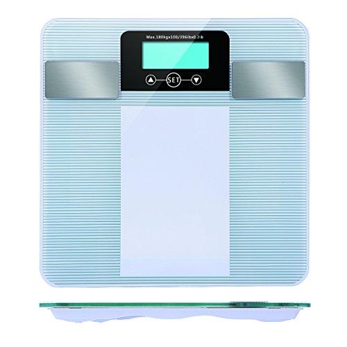 Peso Scala, ad alta precisione bilancia pesapersone digitale in vetro temperato con tecnologia Step-On e grasso corporeo