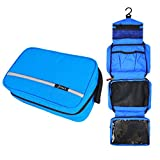 Hanging Toiletry Bag Waterproof, Jiemei Travel Wash Bag for Men & Women with 4 Compartments, Foldable Compact Size, High Quality Zipper, 2 Pack Portable Coat Hangers as GIFT (Blue)