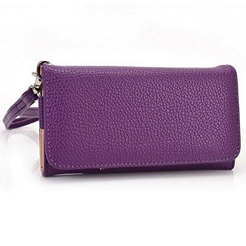 Kroo Pochette Téléphone universel Femme Portefeuille en cuir PU avec dragonne compatible avec lave Icône/Iris x1Grand Multicolore - Blue and Red Violet - violet