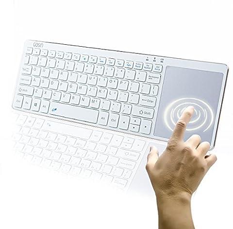 Clavier Bluetooth [] GOSIN® Ultra Fine en métal tout en un clavier Bluetooth avec TouchPad Pavé tactile sans fil pour Windows Android TV HTPC (4.0ci-dessus) os Smartphones et Tablettes
