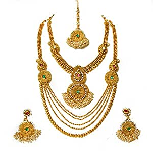 Beeline Bridal Set Red Green Kemp Stones Traditional South Indian Collections Choker Style and Long Gold Finish Set For Women