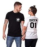 King Queen Paare T-Shirts Baumwolle schwarz weiß Lustige Partner Look Tees für Liebhaber – König Königin Pärchen Shirt 2 Stücke (Schwarz + Weiß, King-L+Queen-M)