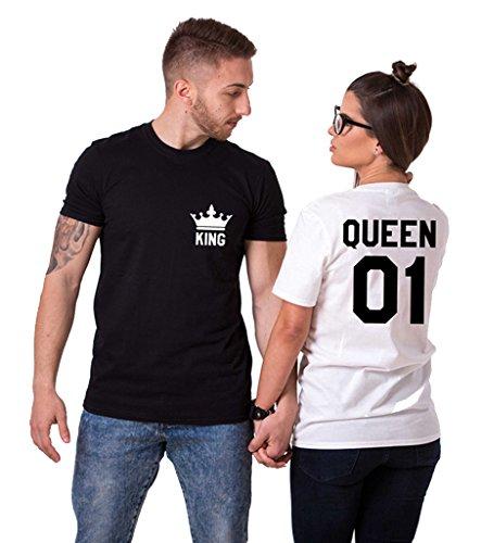 King Queen Paare T-Shirts Baumwolle schwarz weiß Lustige Partner Look Tees für Liebhaber – König Königin Pärchen Shirt 2 Stücke (Schwarz + Weiß, ()
